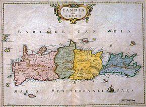 Carte vénitienne de la Crète montrant les quatre parties de l'île. Domaine Public.